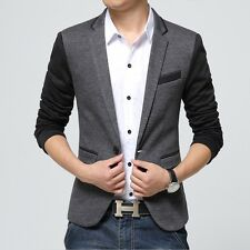 New Slim Fit Casual Cotton Men Blazer- size-L- Color: Dark Gray