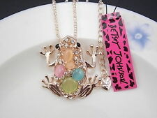 Betsey Johnson personality inlay Crystal frog pendant necklace # F151