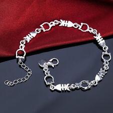 1pc Silver Women Charm Funny Lovely Cat Fish Beads Bracelet Bangle Stylish NOU