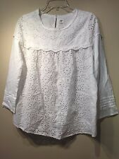 NWT Gap Long sleeve eyelet top, White SIZE M   #241236