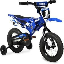 "Boys Kids Bike Yamaha Moto Childs BMX 12"" Blue 2-4 wheels Children Bicycle Steel"