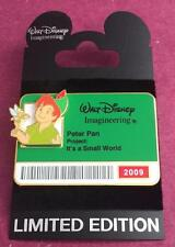 Disney WDI It's a Small World Peter Pan & Tinker Bell 2009 I.D Badge LE 300 Pin