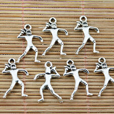 30pcs Tibetan silver plated rugby player design charms EF1525