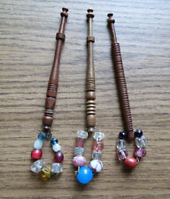 3 ANTIQUE LACEMAKING BOBBINS with BEADED DECORATIONS c 1840's 1850's Lace Making