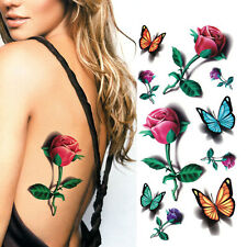3D Butterfly Flower Waterproof Temporary Tattoos Body Art Tattoos Sticker Sexy