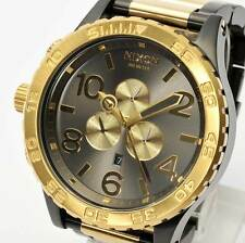 Authentic NEW NIXON Mens Watch 51-30 Chrono GUNMETAL & GOLD A083-595 A083595
