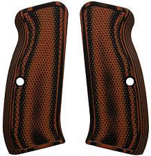 CZ 75 Full Size Checkered Orange/Black G10 - LOK Grips