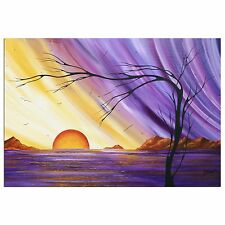 Purple & Gold Landscape 'Royal Sunset' Contemporary Seaside Wall Decor, Abstract