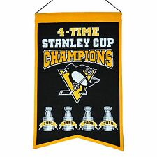 PITTSBURGH PENGUINS FOUR-TIME STANLEY CUP CHAMPIONS BANNER CROSBY LEMIEUX NEW
