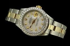 Rolex Ladies Datejust Oyster Stainless Gold Diamond Dial Bezel Pearl Watch