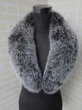 Real fox fur  collar / wrap / fur scarf black with white tip jacket collar