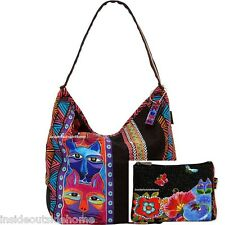 Laurel Burch Stacked Whiskered Cat Large Hobo Tote +Blossoming Feline Makeup Bag