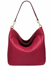 NWT MICHAEL KORS FULTON MEDIUM LEATHER SLOUCHY SHOULDER BAG-CHERRY RED - $278