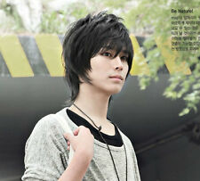 Handsome Boys Wig New Fashion Short Hair fluffy Men's Black Cosplay party Wigs