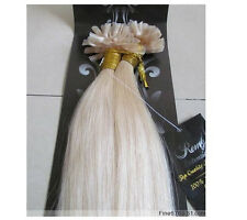 """New 20"""" Human Hair Extensions Nail U-Tip Straight 100S 1g/S Platinum Blonde #60"""