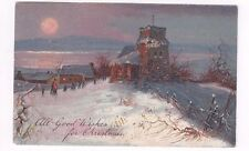 Antique 1908 db Finkenrath Christmas Post Card Church Scene at Sunset