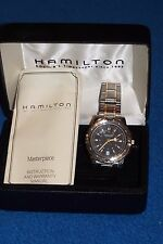 NEW Hamilton Masterpiece Date Man's Watch Box Manuals 38 mm Water resistant 50m