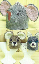 CAT & MOUSE EGG COSIES ELEPHANT TEA COSY CROCHET PATTERNS        (420)