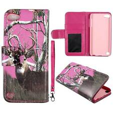 Flip Wallet Pink Camo Deer Rt For  Apple iPod Touch 5 Pu Leather Cover Case