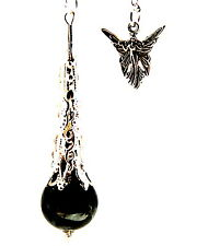 Larvikite Crystal Ball Pendulum on Silvertone Chain & Angel Charm - Protection