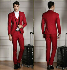 Fashion Men's Suit Dark Red Tuxedo Peak Lapel Two Button Groomsman Wedding Suits
