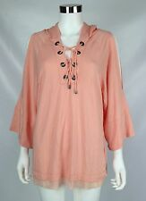 Nanette Lepore Womens Large Peach Cold Shoulder Lace Up Hooded Stretch Tunic Top