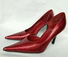 "Diba Ruby Red Womens Pump Pointy Toe Size 7.5 M Sparkly Iridescent 3 3/4"" Heel"