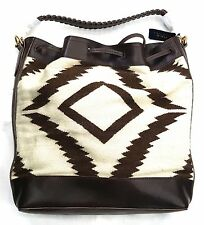 Ralph Lauren WESTERN INSPIRED WOOL LEATHER DRAW STRING BAG BROWN/CREAM 100% REAL
