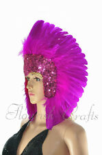feather sequins las vegas dancer showgirl Hot pink headpiece headdress