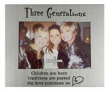 """Three Generations Silver Finish Family Photo Frame for 4"""" x 6"""" Photo, by Ganz"""