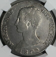 1809-M NGC VF SPAIN Silver 8 Reales Scarce Joseph Napoleon Coin (16111015C)