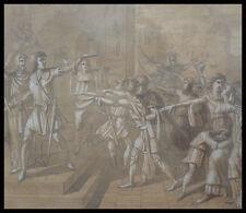 Beau dessin du 19e siècle Serment Militaires Histoire militaria Encadré