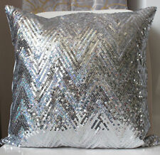 Bling Silver Shiny Glittering Zigzag Sequins Pillow Case Sofa Cushion Cover 16""