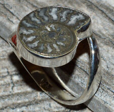 Pyrite Ammonite 925 Sterling Silver Ring Jewelry s.9.5 JJ5198