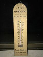 1910s BENJAMIN MOORE MURESCO PAINTS VINTAGE THERMOMETER WOODEN SIGN NT PORCELAIN