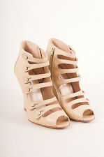 Oscar de la Renta NIB Beige/Nude Leather Strappy Buttoned Peep Toe Wedges SZ 40