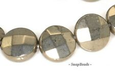 """10MM PALAZZO IRON PYRITE GEMSTONE FACETED FLAT ROUND CIRCLE COIN LOOSE BEADS 16"""""""