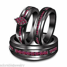 Pink Sapphire Black Gold Over .925 Sterling His and Her Engagement Trio Ring Set