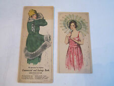 "2 VINTAGE ADVERTISING FASHION ART ON CARDBOARD - 9"" X 4"" & 7 1/2"" X 4""-TUB BBA-2"