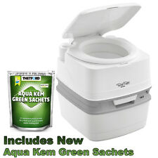 THETFORD PORTABLE PORTA POTTI 165 QUBE CHEMICAL CAMPING TOILET + GREEN SACHETS