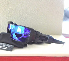 New Oakley Polarized Oil Rig Sunglasses Matte Black Frames w/Polarized Blue Lens