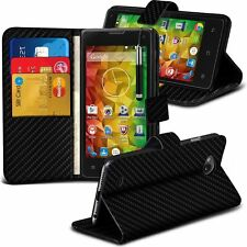Black Carbon Fibre Leather Wallet Stand Case Cover For Aldi Medion life E4503