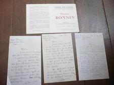 Maurice BONNIN (1911-1993) 4 LETTRES MANUSCRITES ET UN CARTON D'INVITATION