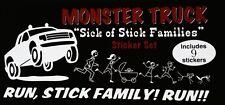 MONSTER TRUCK Run, STICK Family RUN!!! Caravan TRUCK Window Stickers/Decals SET