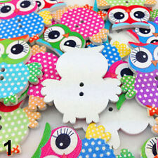 20Pcs Mixed Owl Shape Pattern Wooden Buttons Fit Sewing Scrapbook DIY Making Hot