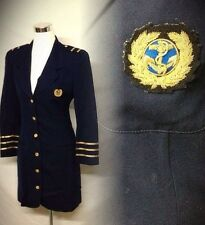 Emil Rutenberg Admiral Coat Navy Nautical Woman Wool Captain Small Vintage 80s