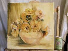 Mid century Still Life 'YELLOW FLOWER BUNCH' Vintage Oil Painting