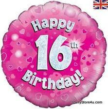 "18"" PINK HOLOGRAPHIC FOIL BALLOON ""HAPPY 16TH BIRTHDAY"" CELEBRATION PARTY"