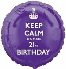 Party Keep Calm It's Your 21st Birthday Purple Foil Balloon Decoration - 2612301