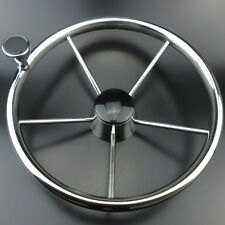 Hot-selling13-1/2'' Boat Steering Wheel S.S Mirror Polish 5 Spoke With Knob